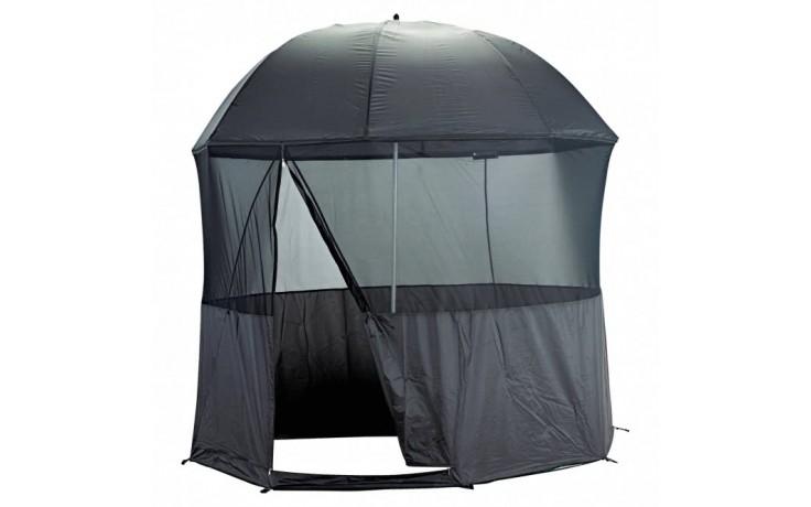 Schirmzelt für Angler 2,5 Meter Bogenspannweite mit Fliegenschutzgitter abnehmbar 4 kg