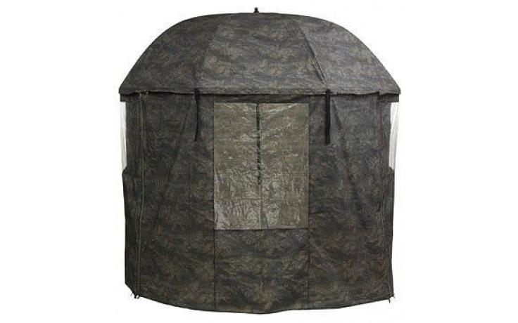 Schirmzelt 2,4 Meter Bogenspannweite Camouflage mit PVC Beschichtung und Heringen und Transporttasche und Zugleinen
