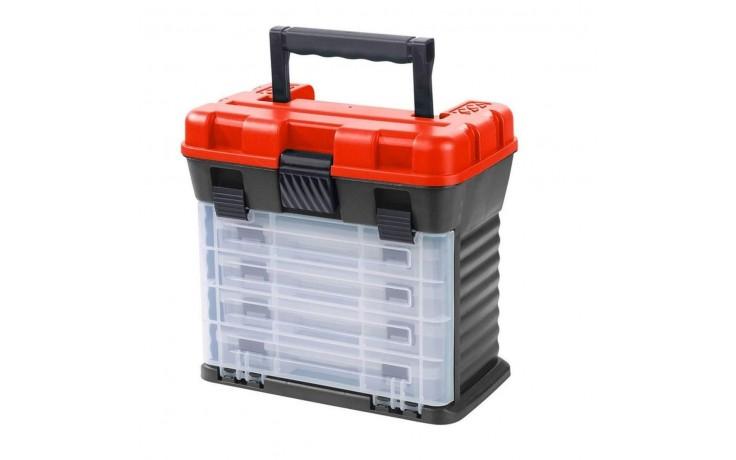 Balzer Shirasu Organizer Angelkoffer Angelbox 28 * 17,5 * 26 cm mit 4 Kunstköderboxen