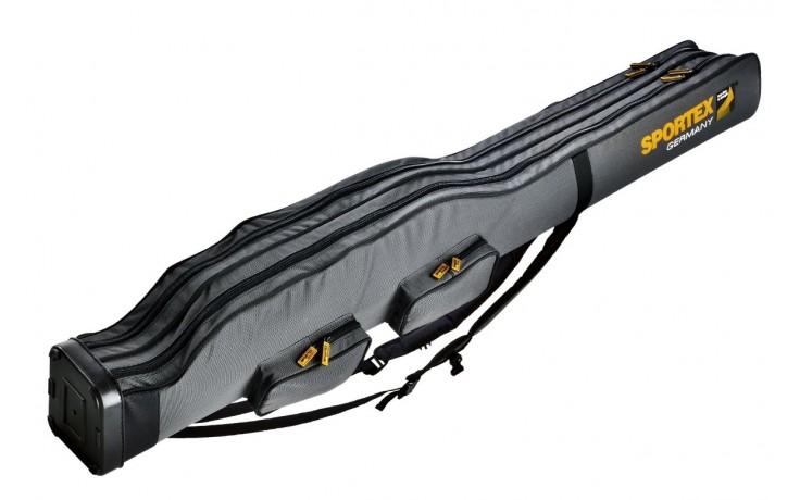 Sportex Super Safe 1,90 Meter mit 2 Fächer für 2 bis 4  Angelruten Farbe grau mit 2 Trageriemen