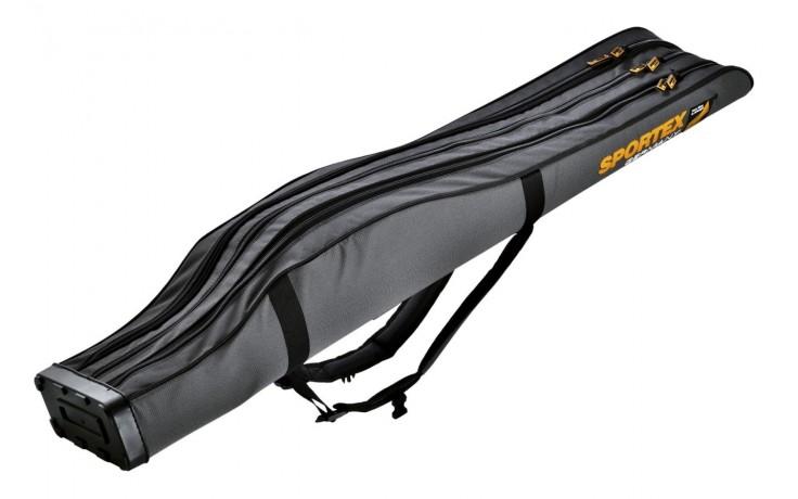 Sportex Super Safe 1,90 Meter mit 3 Fächer für 3 Angelruten Farbe grau mit 2 Trageriemen