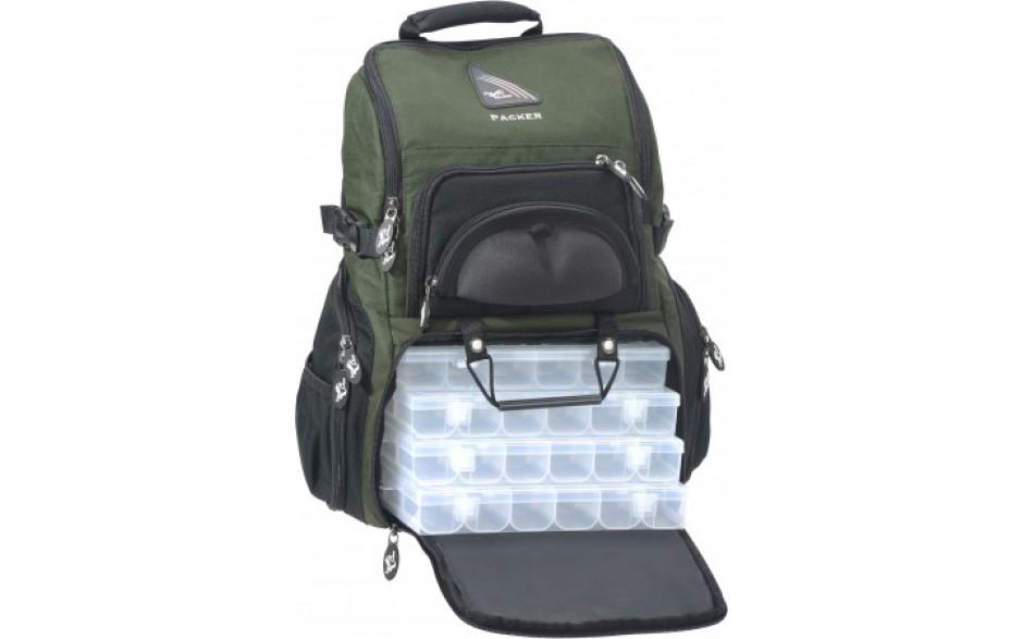 Iron Claw Packer Angelrucksack mit Boxen und Rutenhalter
