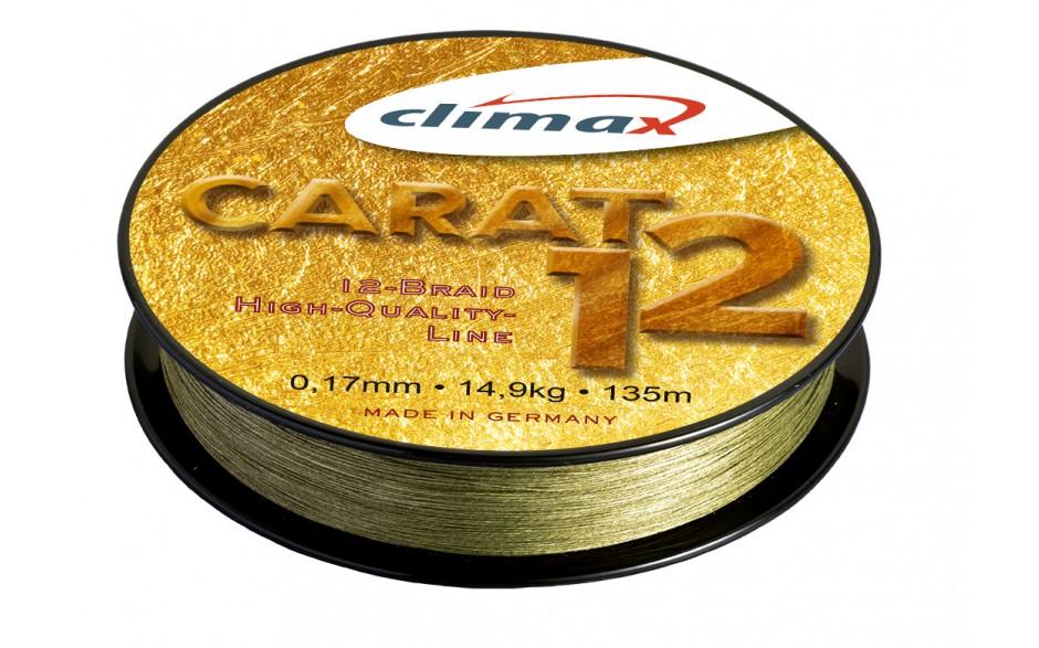 Climax Carat 12 geflochtene Angelschnur moos grün 0,15 mm 12,8 kg | 135 Meter