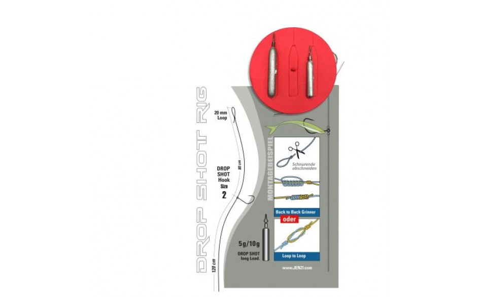 Jenzi Drop Shot Rig - Fertiges Dropshot Rig zum selbst bestücken 0,28 mm Schnur 2 Meter 5 & 10 Gramm Blei